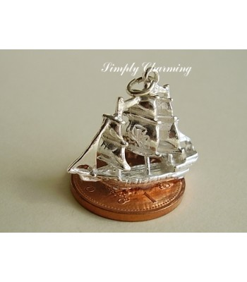 Galleon Ship Sterling Silver Charm