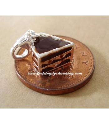 Enamelled Sterling Silver Chocolate Gateau Cake Clip-On Charm