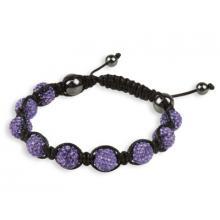 Purple Coloured Shamballa Style Crystal Hematite Bracelet