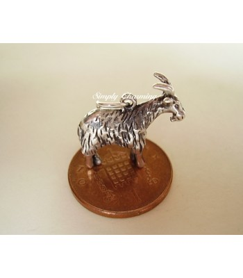Goat Fully 3D Sterling Silver Charm