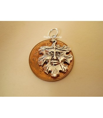 Green Man Sterling Silver Charm