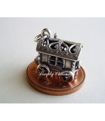 Gypsy Caravan Opening to Fortune Teller Sterling Silver Charm
