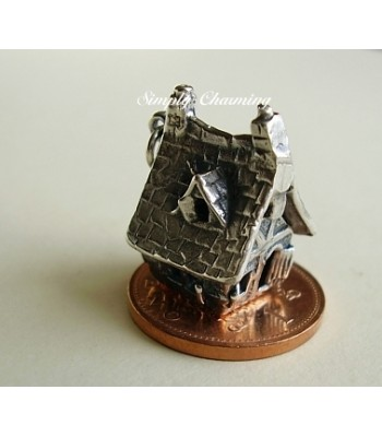 Haunted House Opening to Ghost Sterling Silver Charm
