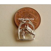 Horses Head in Stirrup Sterling Silver Charm