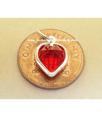 Real Swarovski Crystal Heart Sterling Silver Charm