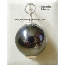 14mm Genuine Hematite Sterling Silver Charm