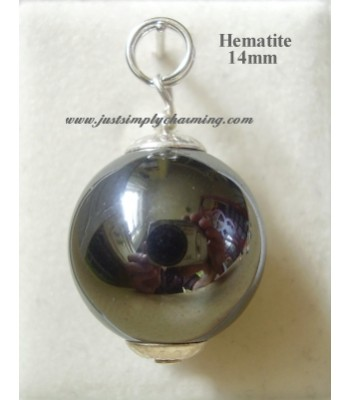14mm Genuine Hematite Sterling Silver Charm