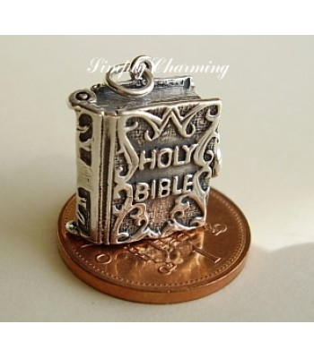 Holy Bible Opening Sterling Silver Charm