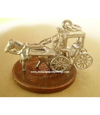 Horse & Carriage Sterling Silver Charm