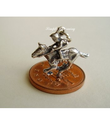 Horse and Jockey Sterling Silver Charm