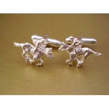 Sterling Silver Horse Racing Cufflinks