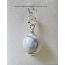 8mm Genuine Howlite Sterling Silver Charm