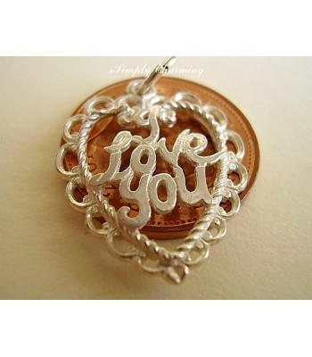 I Love You Heart Sterling Silver Charm