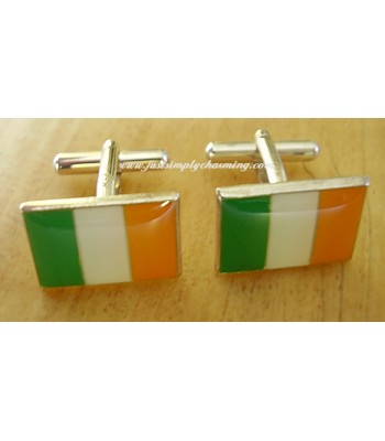 Enamelled Ireland Irish Flag Sterling Silver Cufflinks