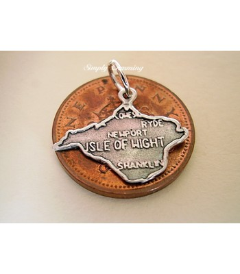 Isle of Wight Map Sterling Silver Charm