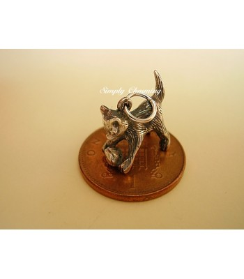 Kitten with Ball Sterling Silver Charm