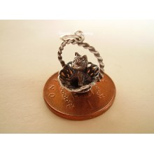 Kitten in Basket Sterling Silver Charm