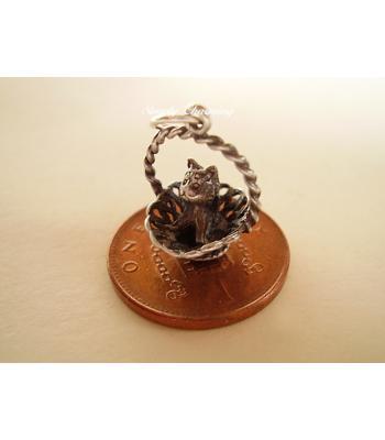 Kitten in Basket Sterling Silver Charm