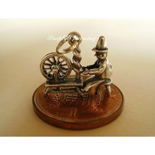 Welsh Lady at Spinning Wheel Sterling Silver Charm