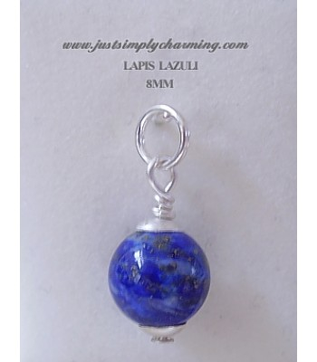 8mm Genuine Lapis Lazuli Sterling Silver Charm