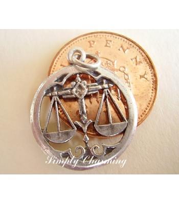 Libra Zodiac Letter Sterling Silver Charm