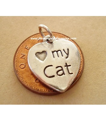 Love My Cat Sterling Silver Charm
