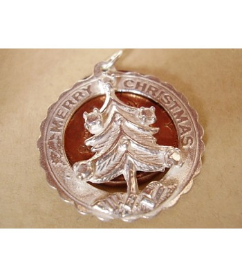 Merry Christmas Tree in Decorative Surround Silver Charms