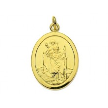9ct Gold Oval St Christopher