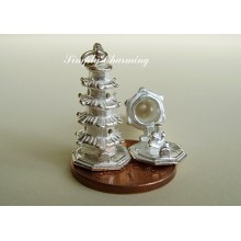Pagoda Temple Opening Sterling Silver Charm