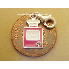 Enamelled Sterling Silver Perfume Bottle Clip-On Charm