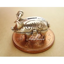 Piggy Bank Opening Sterling Silver Charm