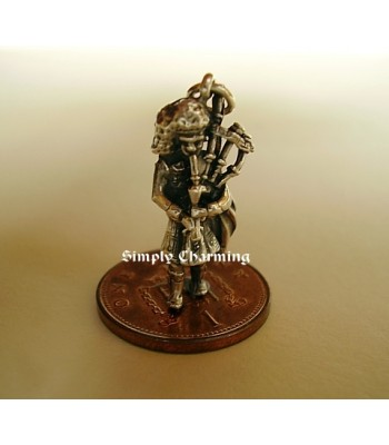 Scottish Bagpiper Sterling Silver Charm