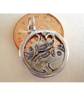 Pisces Zodiac Sterling Silver Charm or Pendant