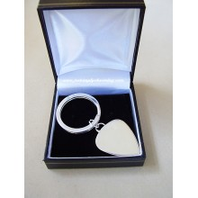 Sterling Silver Personally Engraved Guitar Plectrum Keyring