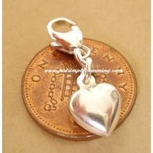 Sterling Silver Puffed Heart Clip-On Charm