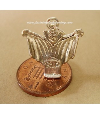 Ghostly Ghoul RIP Sterling Silver Charm