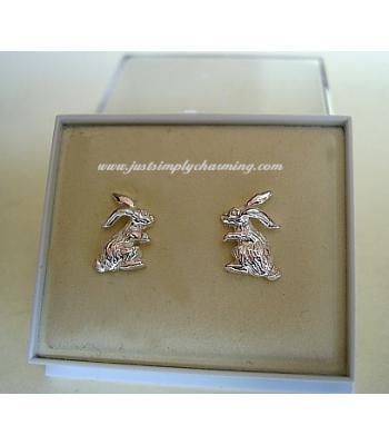 Sterling Silver Rabbit Stud Earrings
