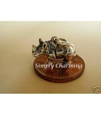Rhino Sterling Silver Charm