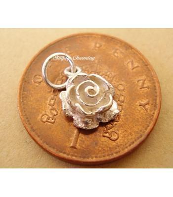Miniature Rose Silver Charm
