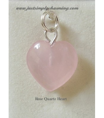 Genuine Rose Quartz Heart Sterling Silver Charm
