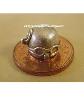 Motor Cycle Helmet Opening Sterling Silver Charm