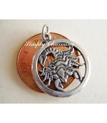 Scorpio Zodiac Sterling Silver Charm or Pendant