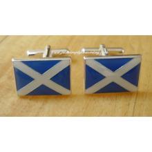 Enamelled Scottish Saltire Flag Sterling Silver Cufflinks