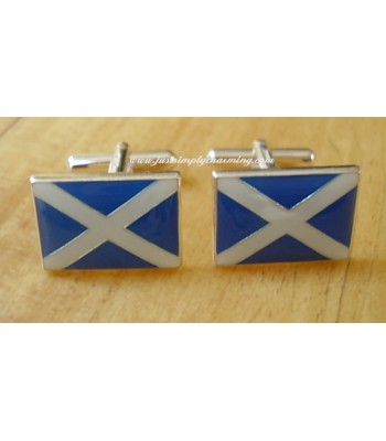 Enamelled Scottish Saltire Flag Sterling Silver Cufflinks