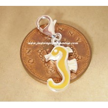 Enamelled Sterling Silver Seahorse Clip-On Charm