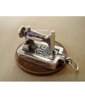 Sewing Machine Opening Sterling Silver Charm