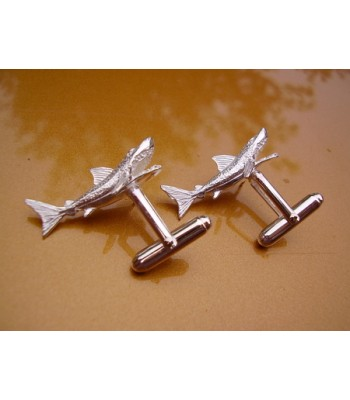 Sterling Silver Shark Cufflinks
