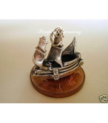 Galleon Ship Opening Sterling Silver Charm