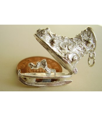 Ice Skate Boot Opening Silver Charm