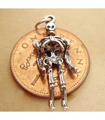 Skeleton Moving Sterling Silver Charm